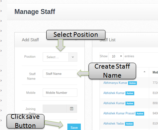 add manage staff