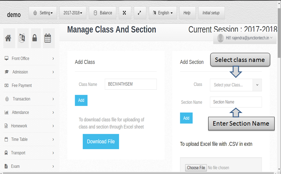 manage class section