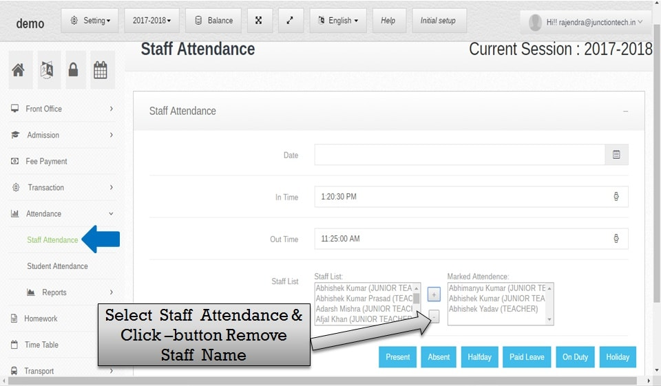 attendance management software staff remove name