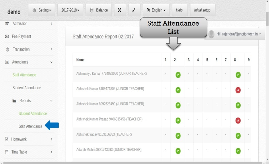 attendance management software staff attendance list