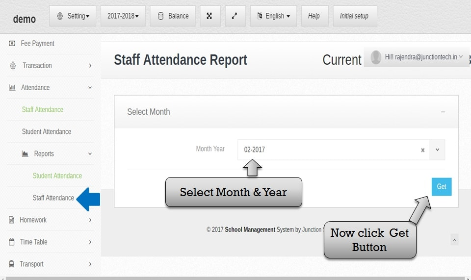 attendance management software staff attendance report