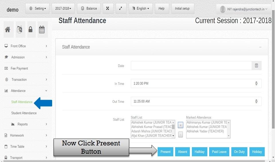 attendance management software staff present