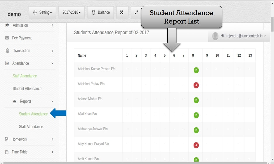 attendance management software student report list