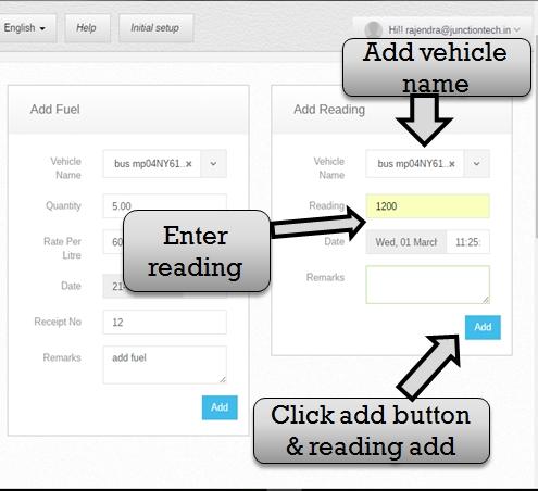 Transportation management system add vehicle reading