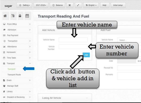 Transportation management system add vehicle