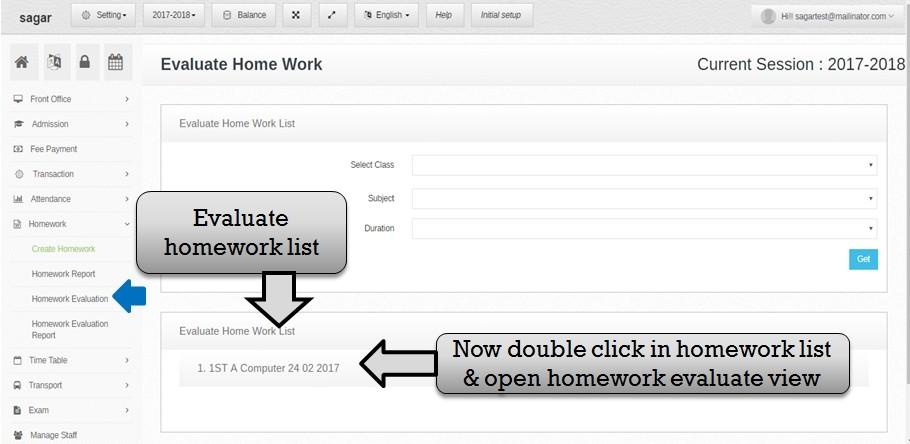 evaluate homework list
