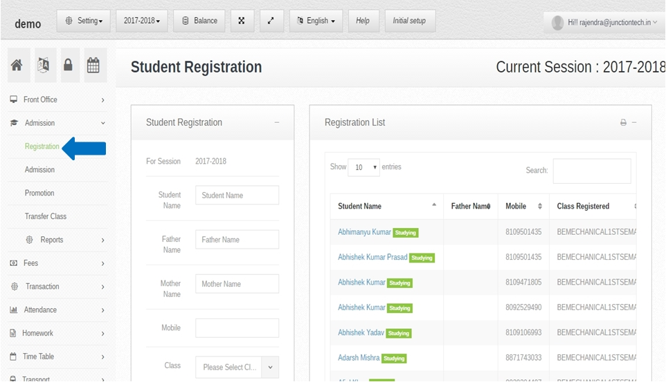 Admission management software registration