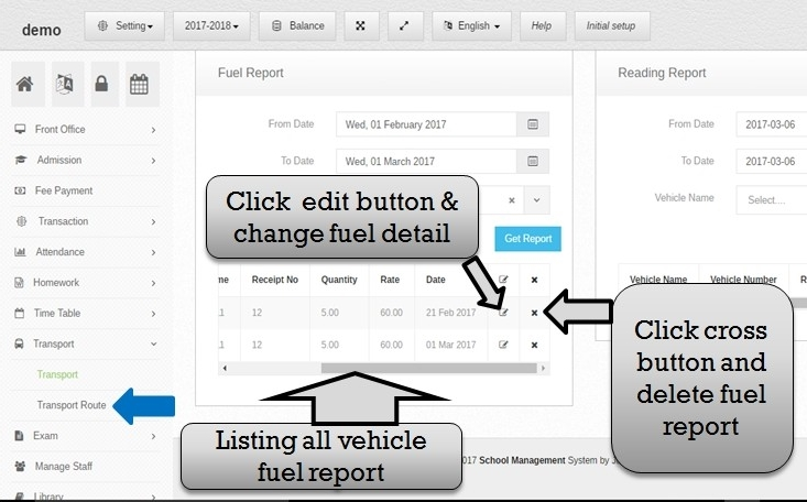 Transportation management system fuel listing