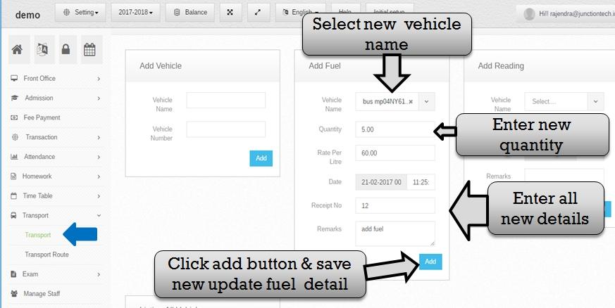 Transportation management system new fuel entry