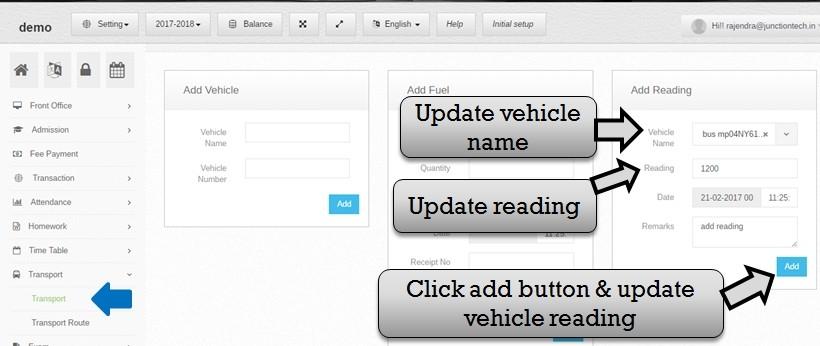 Transportation management system software reading