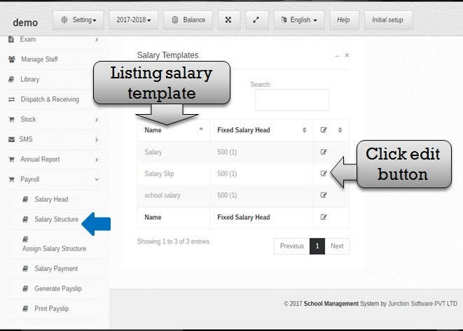 Payment Management Software for schools and colleges – Salary Structure Template