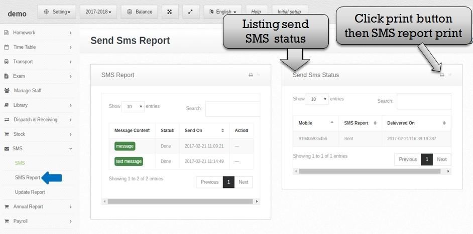 listing sms status