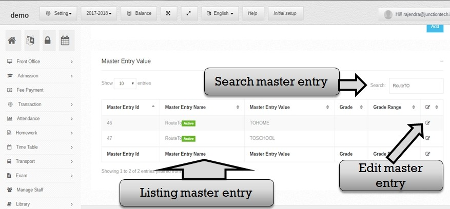 Transportation management system search master entry