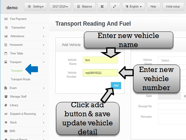 Transportation management system add update vehicle