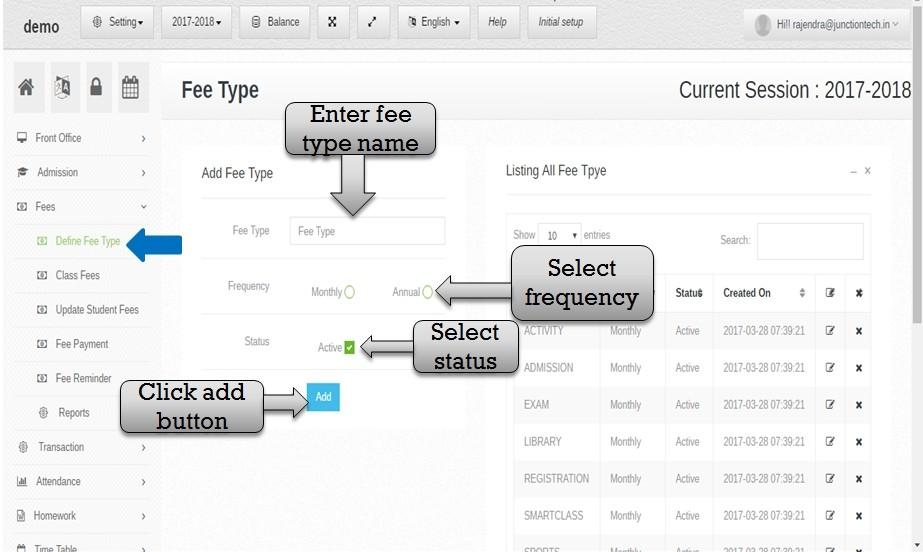 define fee type