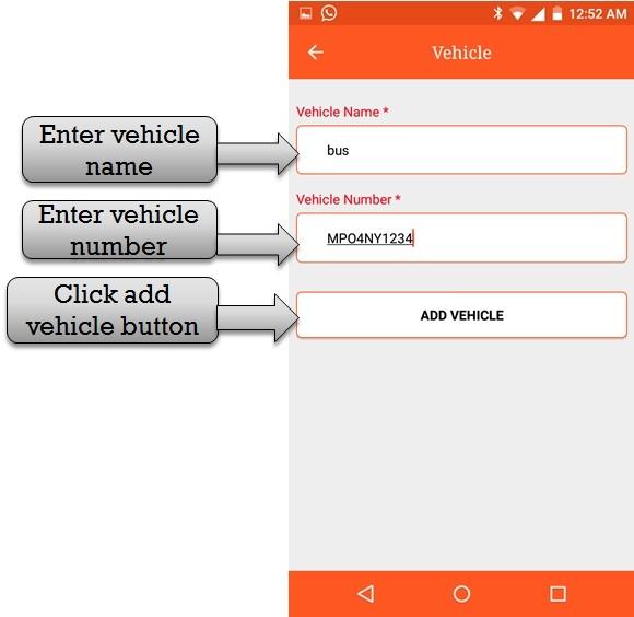 enter info vehicle