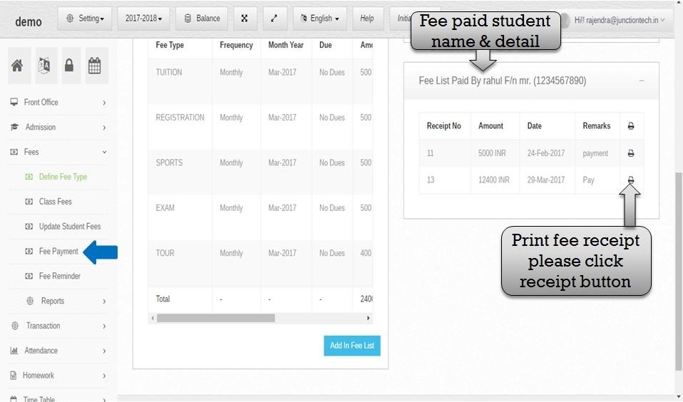 student fee paid
