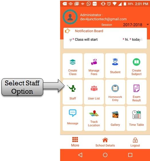 select staff option
