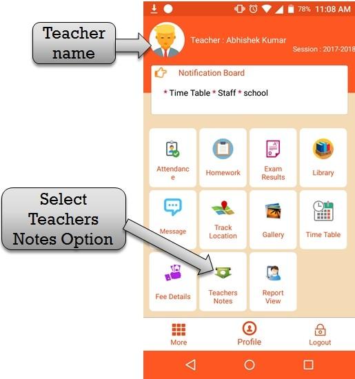 select teacher notes