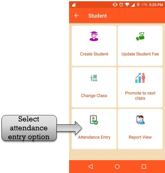 student attendance entry