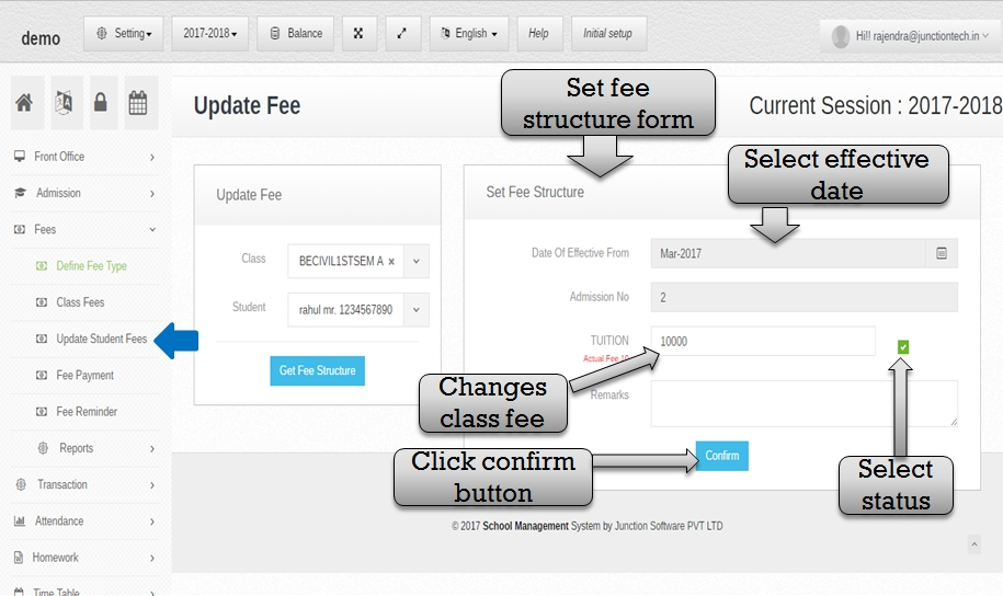 update set fee structure