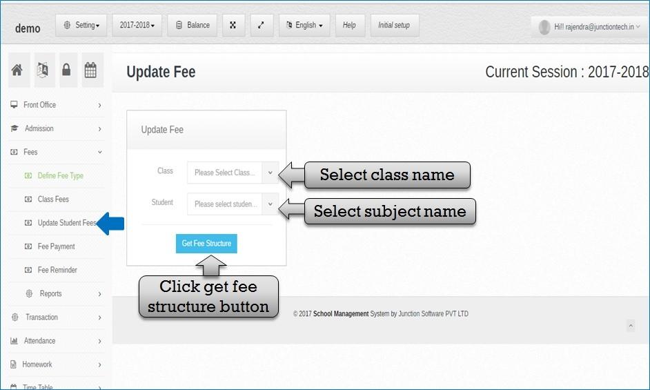 update student fee