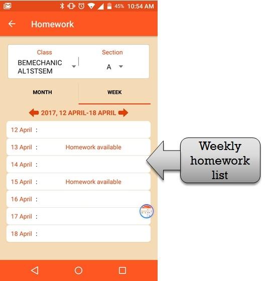 weekly homework list