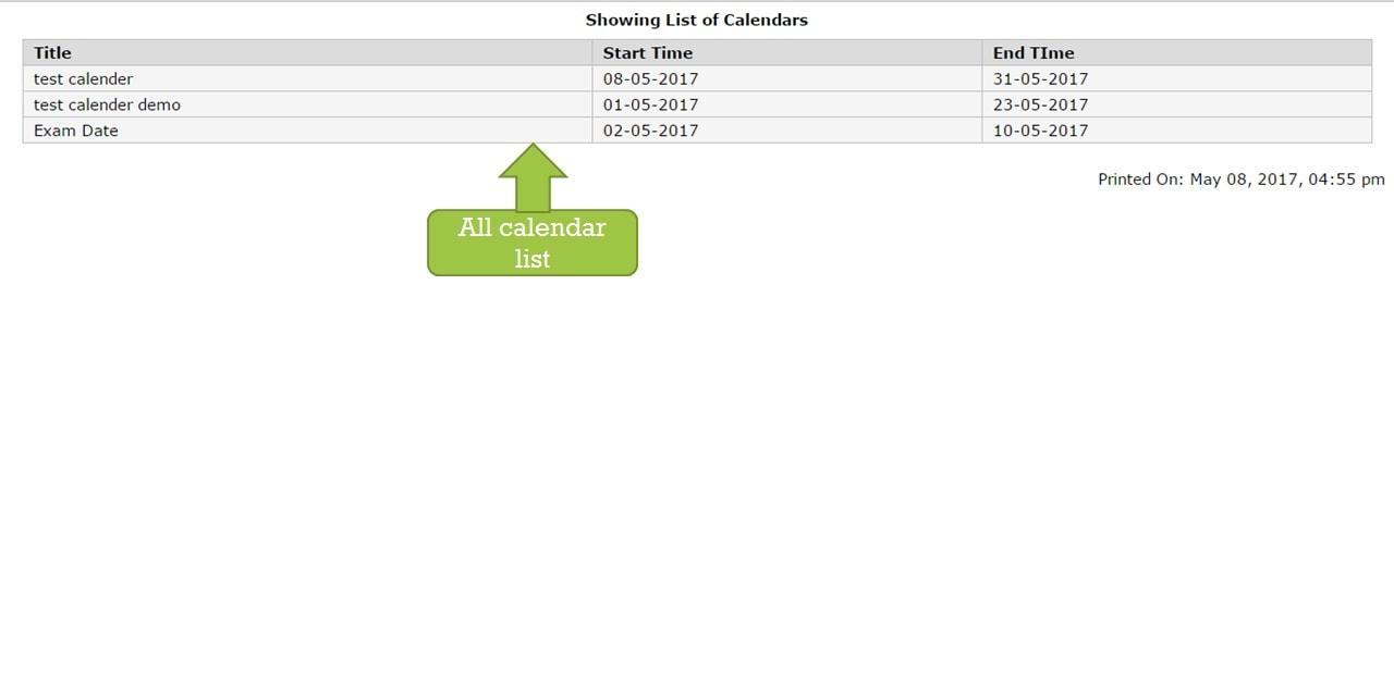 calendar list show