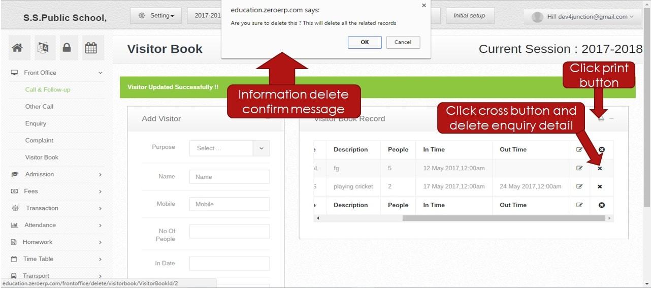 delete visitor info
