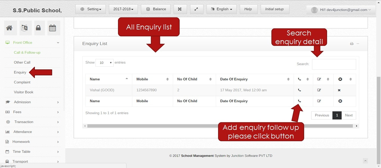 user enquiry list
